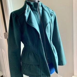 NEW YORK AND COMPANY Green Wool Peplum Coat